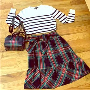 J Crew Plaid Tie Front Midi Skirt